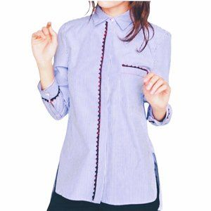 Zara Woman Striped Pom Pom Shirt Blouse Top Size S